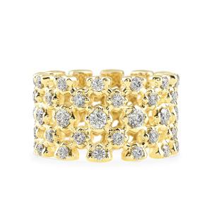 Geltono aukso žiedas su šampaniniais deimantais | Taurus Jewels