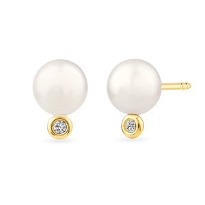 Geltono aukso auskarai su perlais ir deimantais | Taurus Jewels