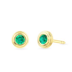 Geltono aukso auskarai su smaragdais | Taurus Jewels