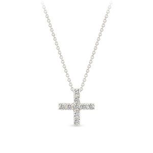 Balto aukso pakabukas kryželis su deimantais | Taurus Jewels