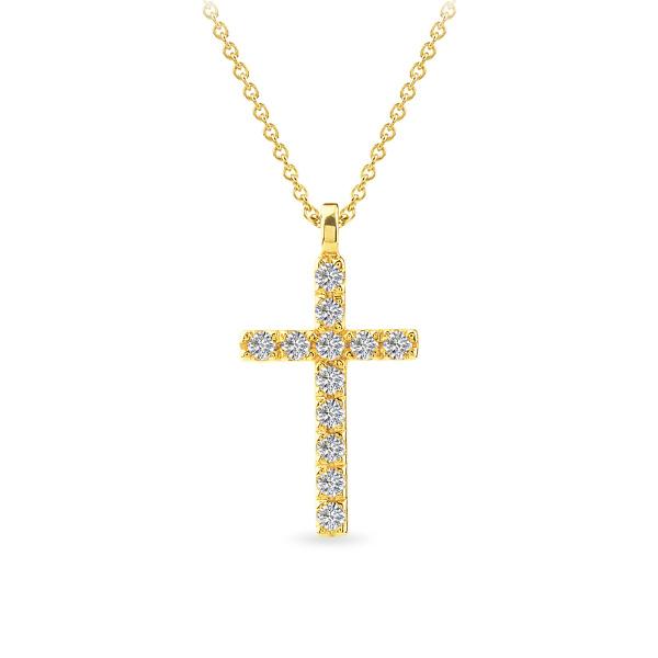 Geltono aukso pakabukas kryželis su deimantais | Taurus Jewels