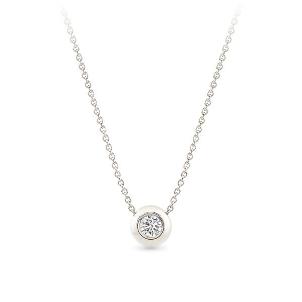Balto aukso pakabukas su deimantu | Taurus Jewels