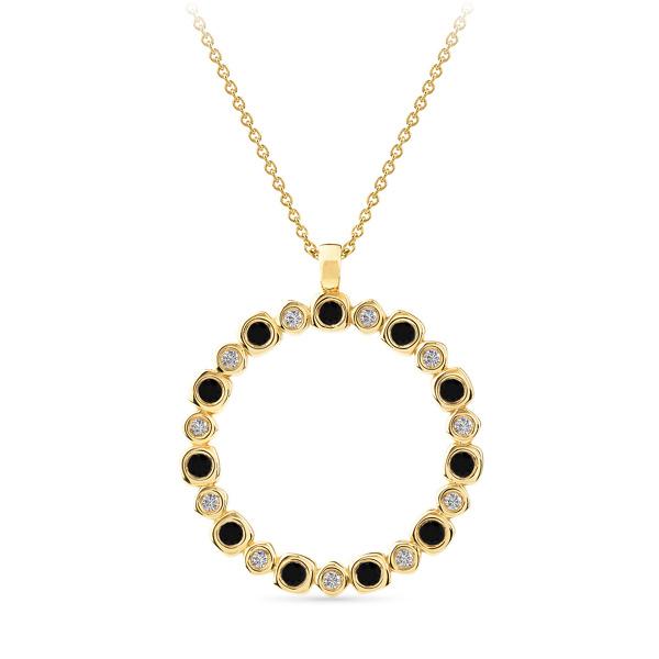 Geltono aukso pakabukas su baltais ir juodais deimantais | Taurus Jewels