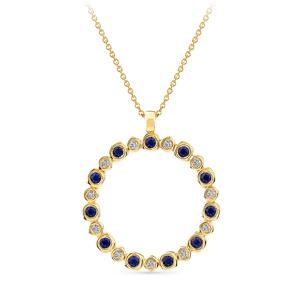 Geltono aukso pakabukas su deimantais ir mėlynais safyrais | Taurus Jewels