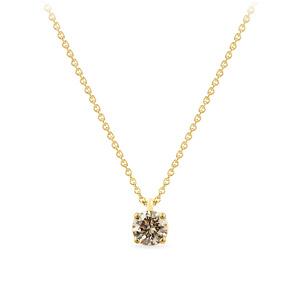 Geltono aukso pakabukas su šampaniniu deimantu | Taurus Jewels