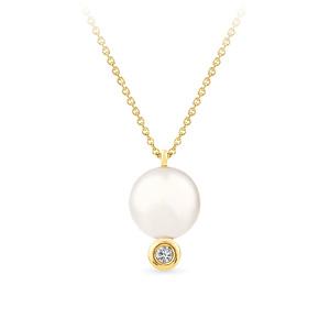 Geltono aukso pakabukas su perlu ir deimantu | Taurus Jewels