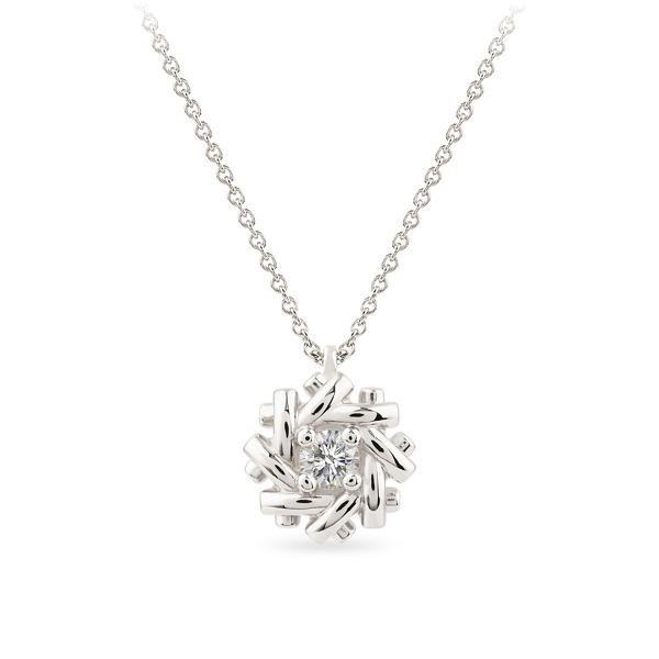 Balto aukso pakabukas Pynutė su deimantu | Taurus Jewels