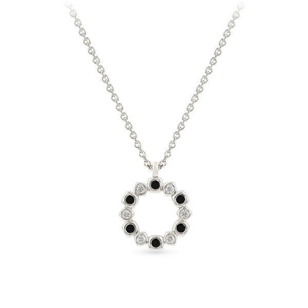 Balto aukso pakabukas su baltais ir juodais deimantais | Taurus Jewels
