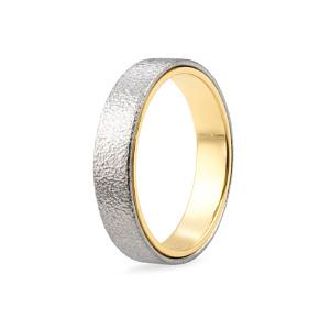 Vestuvinis balto ir geltono aukso žiedas | Taurus Jewels