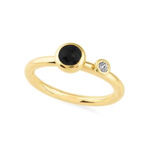 Geltono aukso žiedas su juodu ir baltu deimantu | Taurus Jewels