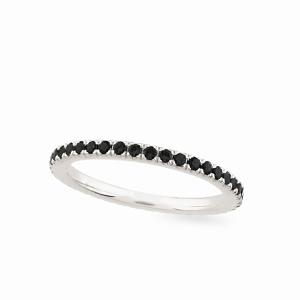 Balto aukso Amžinybės žiedas su juodais deimantais | Taurus Jewels
