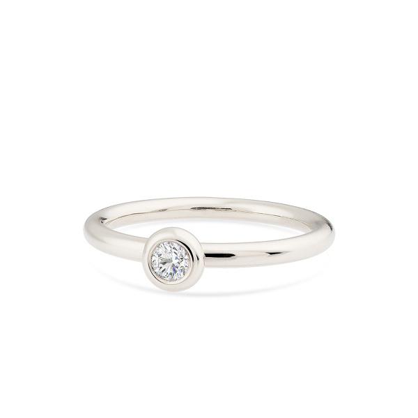 Balto aukso žiedas su deimantu | Taurus Jewels