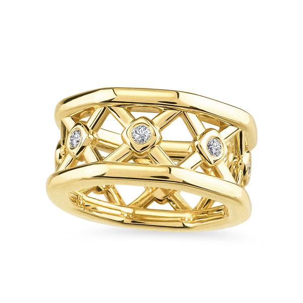 Geltono aukso žiedas su deimantais   Taurus Jewels