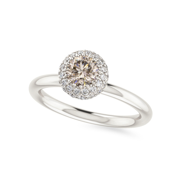 Balto aukso žiedas su šampaniniu deimantu | Taurus Jewels