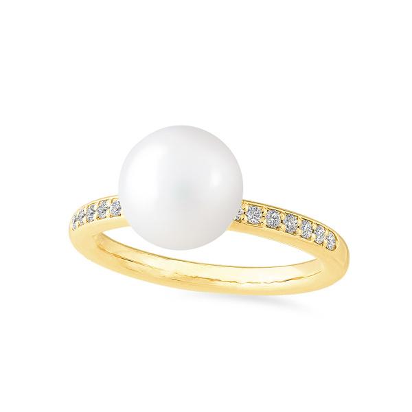 Geltono aukso žiedas su gėlavandeniu perlu ir deimantais | Taurus Jewels