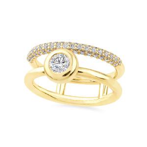 Geltono aukso žiedas su deimantais | Taurus Jewels